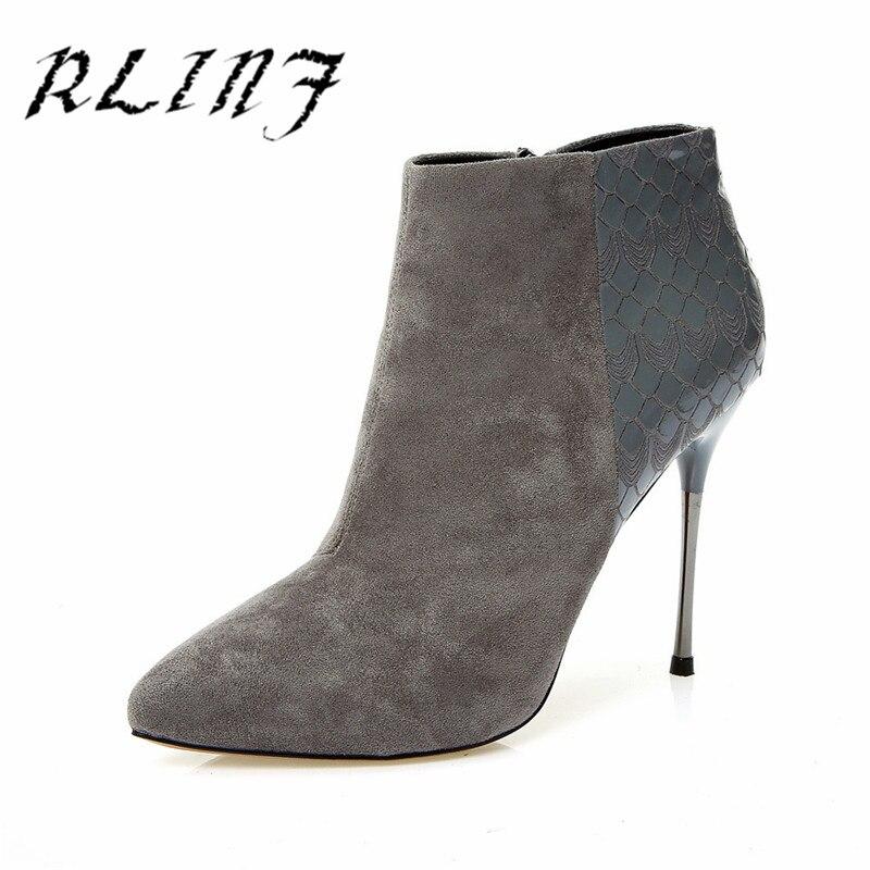 Alto Mujer Stiletto Super Botas Patrón Sexy Negro gris Rlinf Señaló ...