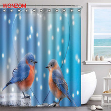 WONZOM Bird Polyester Fabric Deer Shower Curtain Feather Bathroom Decor Waterproof Peacock Cortina De Bano With 12 Hooks 2017