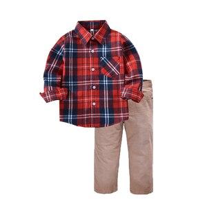 Image 5 - 2Pcs Suit Winter Boy Clothes Childrens New 2019 Toddler Clothing Sets Kids Cotton Plaid Shirt Pants Costume Male Boy School