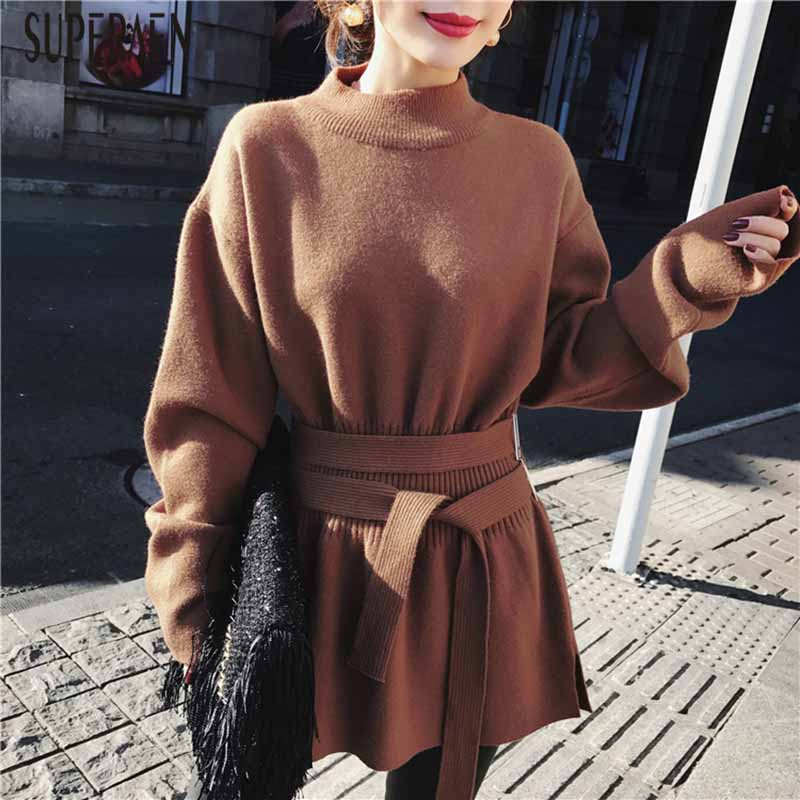 SuperAen Autumn and Winter New Pullovers Sweater Solid Color Wild Fashion Ladies Sweater 2018 Casual Knit Tops Women Clothing