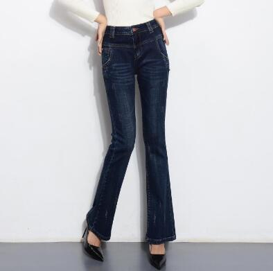 Pantalones Moda Cuerpo Otoño El Mediados Tamaño Llamarada Denim Más Jeans Mujeres Casual Las Nueva Adelgaza Primavera De Entero Cintura Ddk0702 awtq1x86v