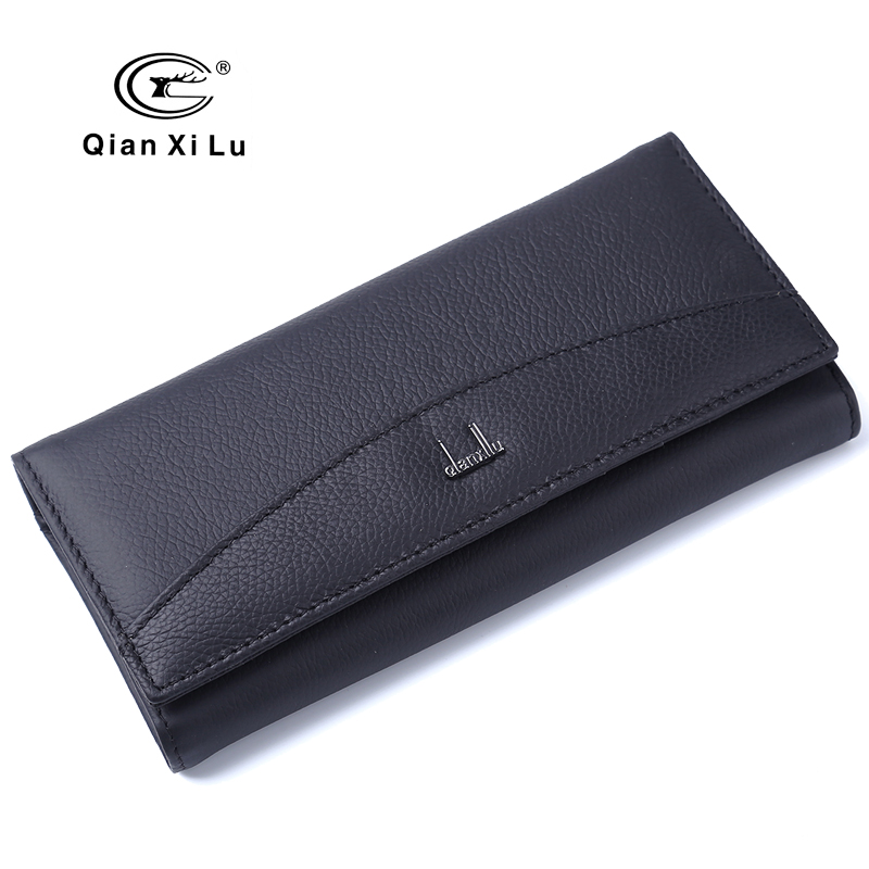 Brand Box Packaging,Casual Women Cow Leather Wallet Long Hasp Purse Female Wallets Black and red color High Quality