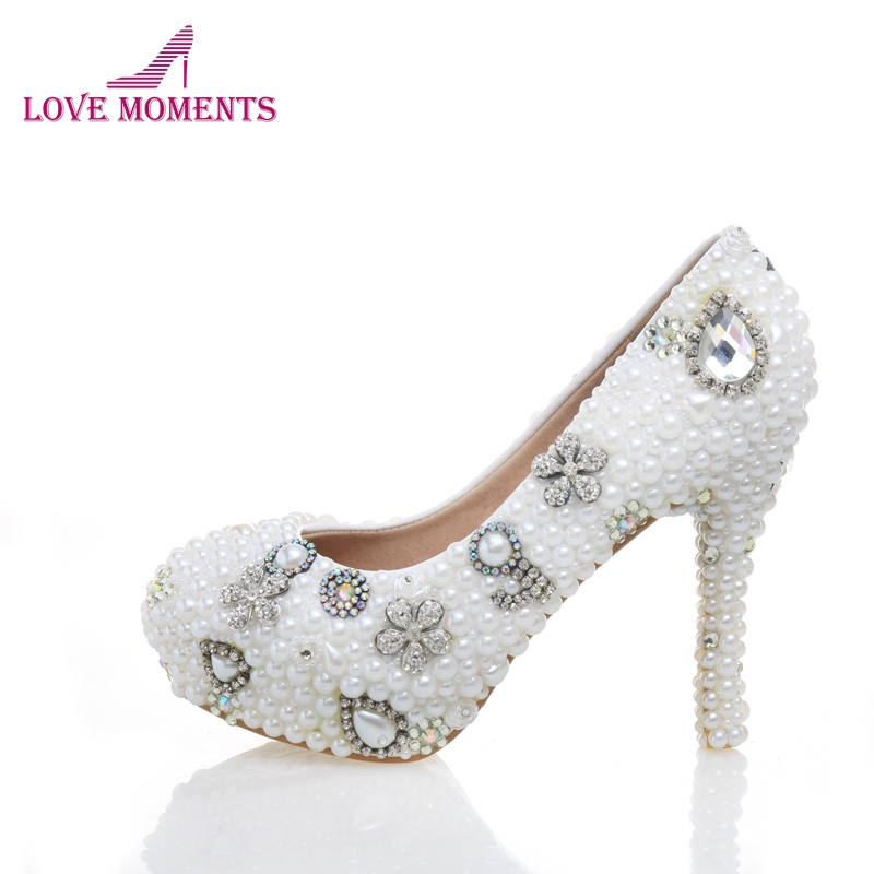 10cm/12cm/14cm High Heel Bridal Shoes Round Toe Women High Heels Rhinestone Wedding Party Shoes White Pearl Prom Pumps cinderella high heels crystal wedding shoes 14cm thin heel rhinestone bridal shoes round toe formal occasion prom shoes