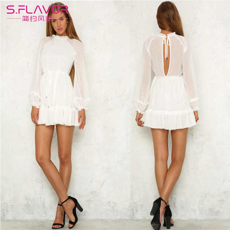 S. FLAVOR 2020 kobiet wiosna sukienka vintage solidna z koronkowym pełnym rękawem dziewczyny sexy party dress potargane kobiece letnie modne sukienki