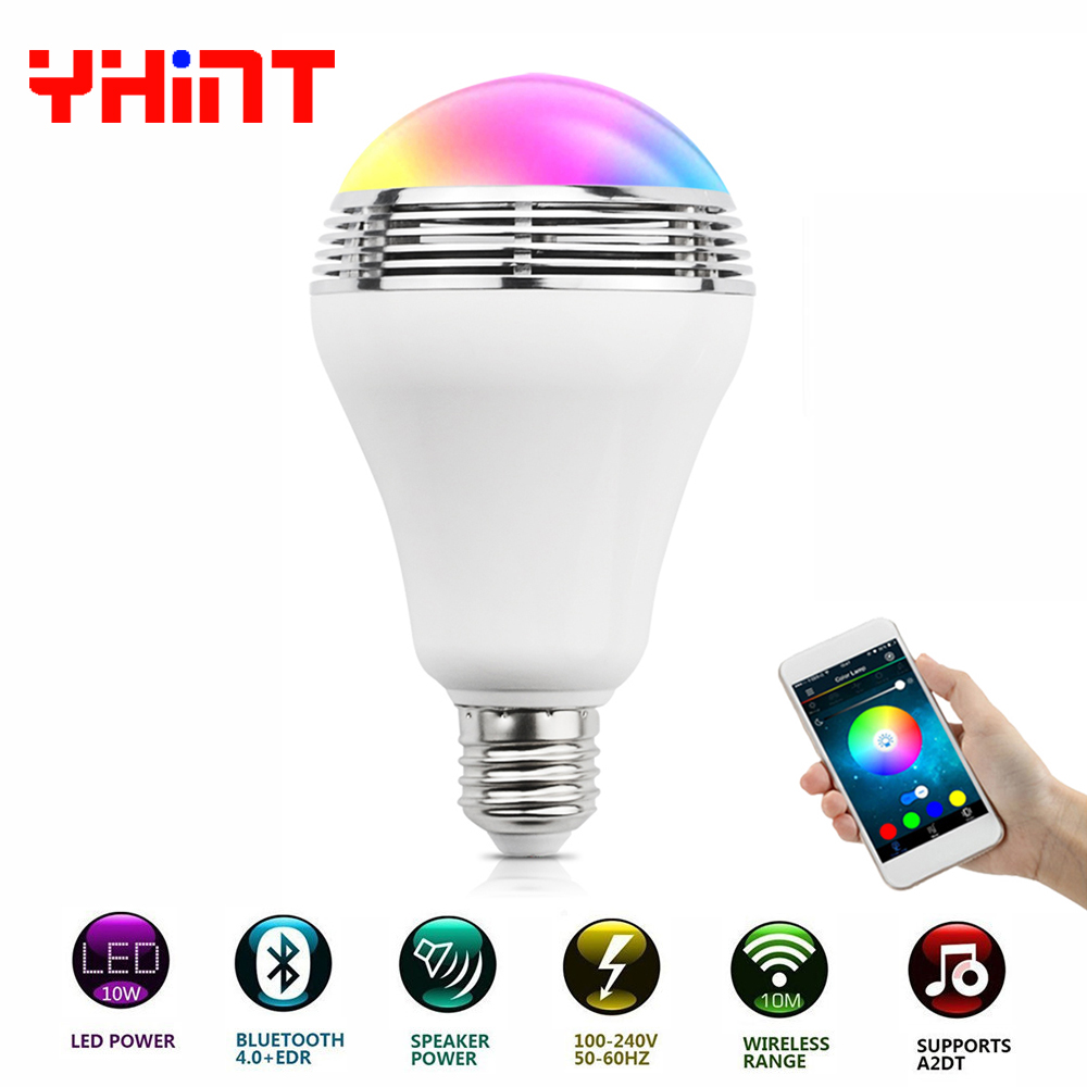 E27 10W wireless bluetooth speaker smart RGBW colorful bulb music playing dimmable intel ...