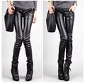 2017 New Autumn Women Plus Size Casual skinny Tight Pants PU leather Pants Elasticity Feet Pants Pencil Pants Female Trousers