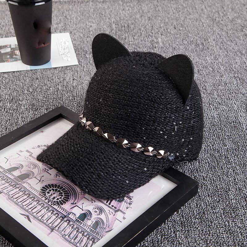 New fashion women girl's Hats spring summer   cap   cat ears hats snapback bone Hip Hop   Caps   wool knit   baseball     cap