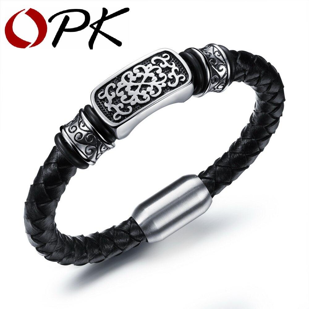 Bracelets tricotés en cuir faits à la main OPK pour homme Style Rock décoration en acier inoxydable bijoux hommes meilleur cadeau pour les amis PH1001