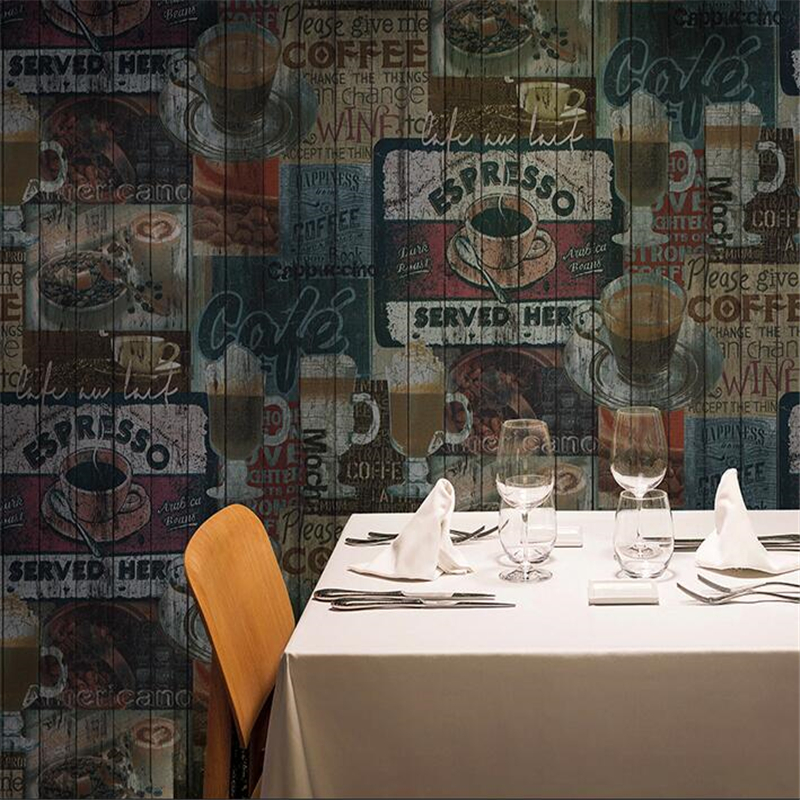 beibehang Retro nostalgic coffee English alphabet wallpapers restaurant bar cafe wallpaper shop decoration tea Papel de paredebeibehang Retro nostalgic coffee English alphabet wallpapers restaurant bar cafe wallpaper shop decoration tea Papel de parede
