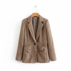 Geckoistail Для женщин Повседневное плед блейзеры пальто 2018 осень мода Карманы одной кнопки женский офисный Блейзер Костюмы