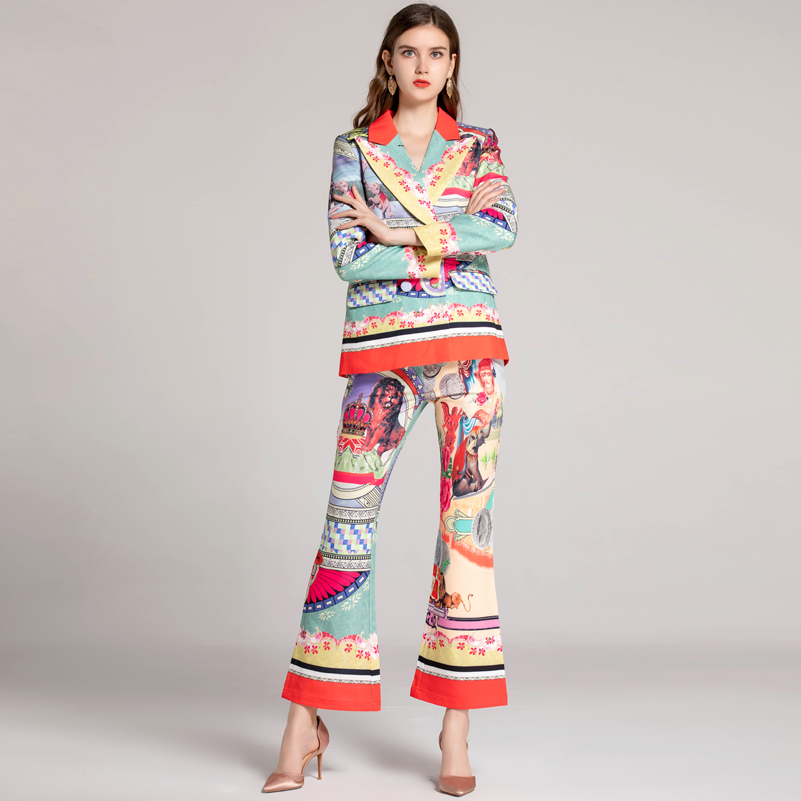 High quality 2018 winter fashion designer runway Sets Women's Double Breasted coat+Pattern Print Flare Pants Vintage Suit sets