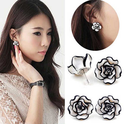 Bluelans Elegant Fashion Cute Women's Lady Girls Black & White Rose Flower Stud Earrings