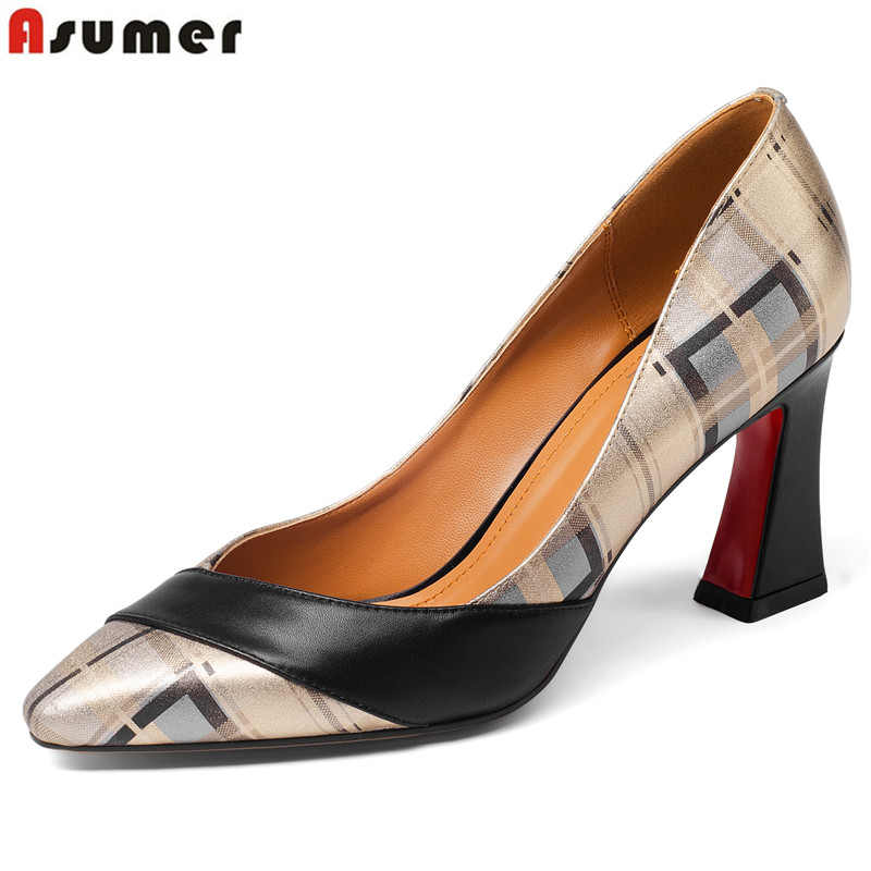 ASUMER Plus size 34 43 new top quality genuine leather shoes woman pointed toe summer women