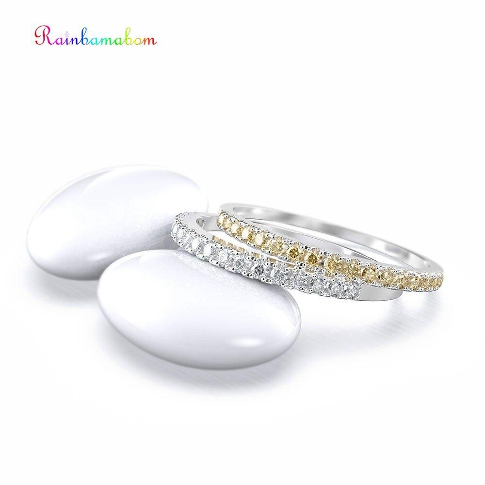 Rainbamabom Top Quality 925 Sterling Silver Citrine Gemstone Wedding Engagement Ring Band Fine Jewelry Wholesale Drop Shipping