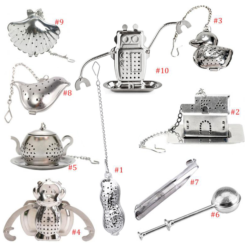 Heart/House/Duck/Monkey/Teapot/Ball/Bird/Shell Full Shape Stainless Steel Infuser Filter Strainer Tea Ball Spoon