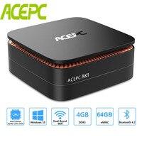 AK1 Мини ПК Windows 10 Intel Celeron Apollo Lake J3455, 4 ГБ, 64 ГБ, 12 V HDMI 4 K с Wi-Fi RJ45 LINUX TF карты USB3.0 HDD DDR3 для мини-компьютера