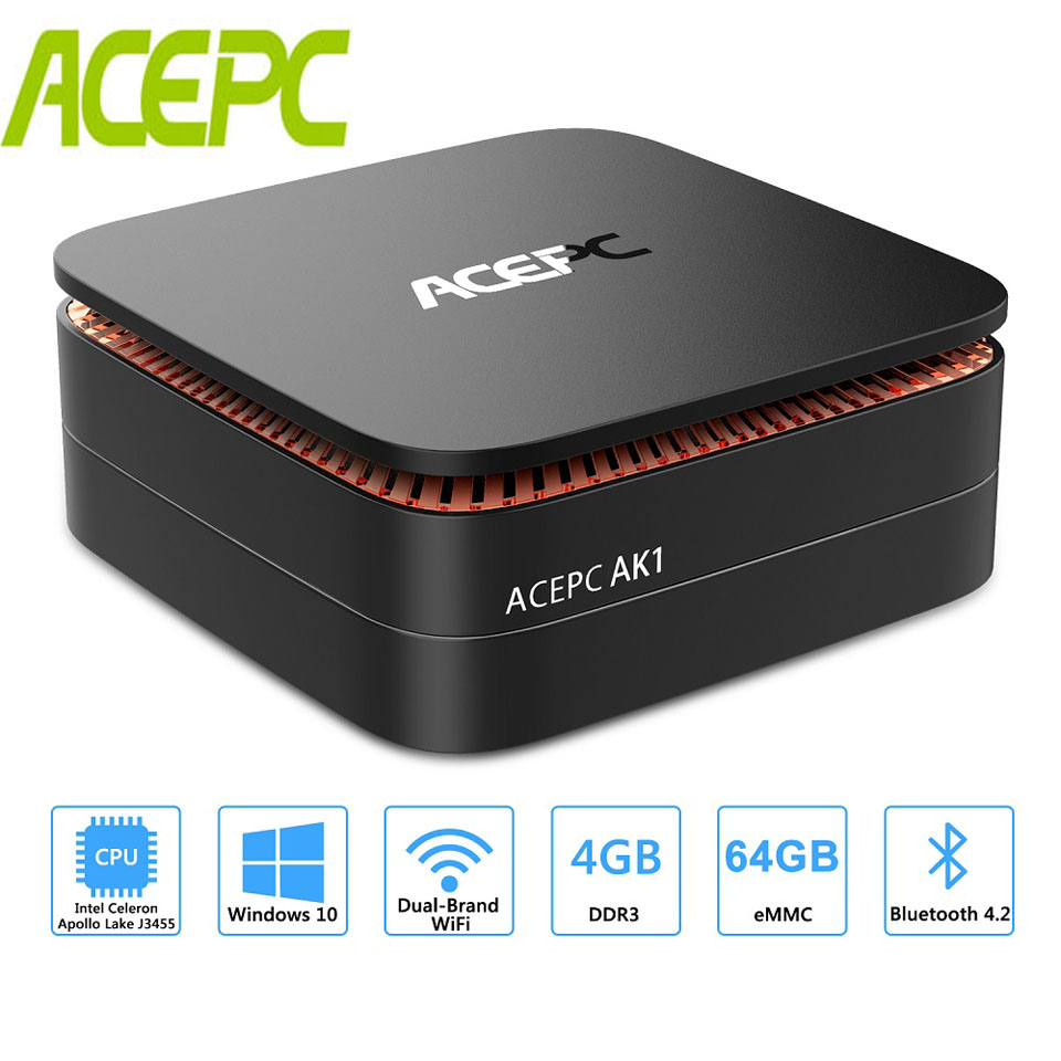 AK1 Mini PC Intel Celeron Janelas 10 Apollo Lago J3455 4G 64G 12 V HDMI WiFi 4 K RJ45 DDR3 USB3.0 HDD Mini Computador LINUX Cartão TF