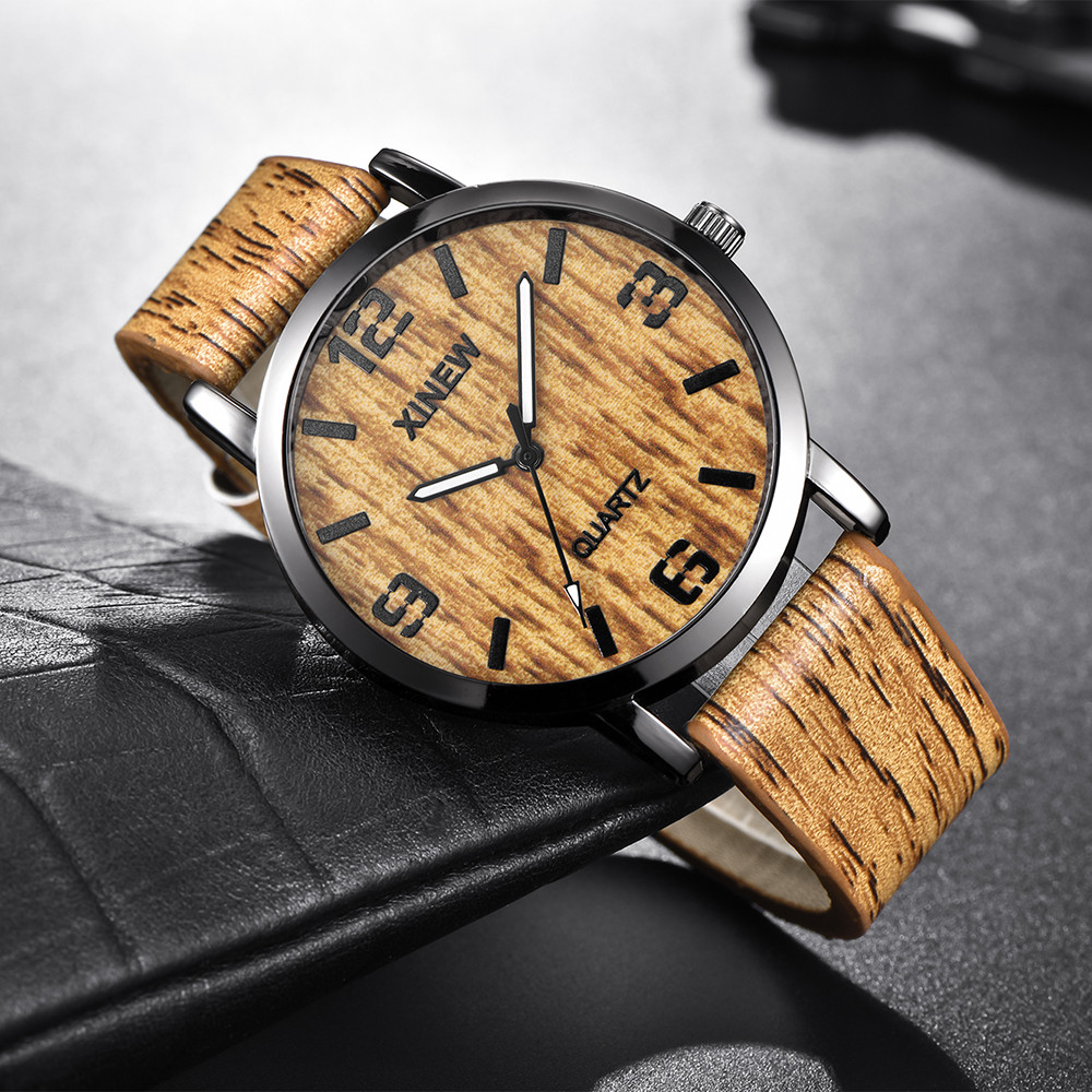 Women and Men Wood Leather Band Analog Quartz Vogue Wrist Watches 22