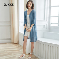 XJXKS Women's long cardigan summer sun protection clothing 2019 spring new fashion V neck women linen knitted sweater cardigan