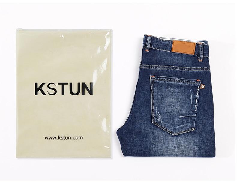 KSTUN Jeans Men Summer 2020 Thin Blue Slim Straight Denim Pants Casual Fashion Men's Trousers Full