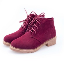 Spring / autumn Women shoes Leather fashion women's shoes flat Comfortable shoes Suede Leather Female Warm Ankle Women shoes