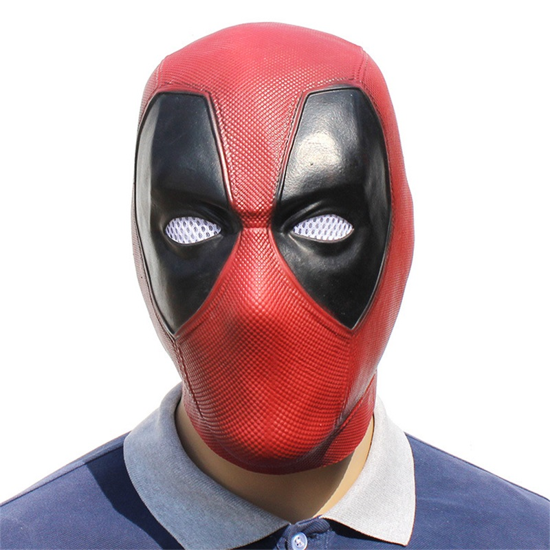 New Halloween Deadpool Movie Wade Winston Wilson Adult Latex Short Red Mask Cosplay Full Face Helmet