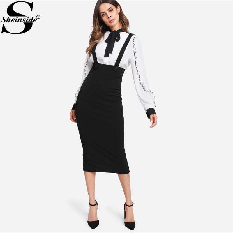 Sheinside High Waist Slit Back Pencil Skirt With Strap Black Knee Length Plain Zipper Skirt Women