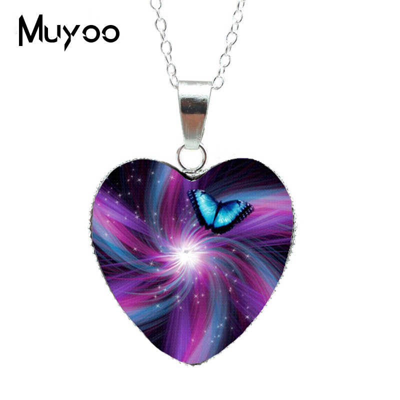 2019 חם סגול קסם פרפר לב תכשיטי שרשרת יפה ומסתורי פרפר תליון לב שרשרת Jewerly HZ3