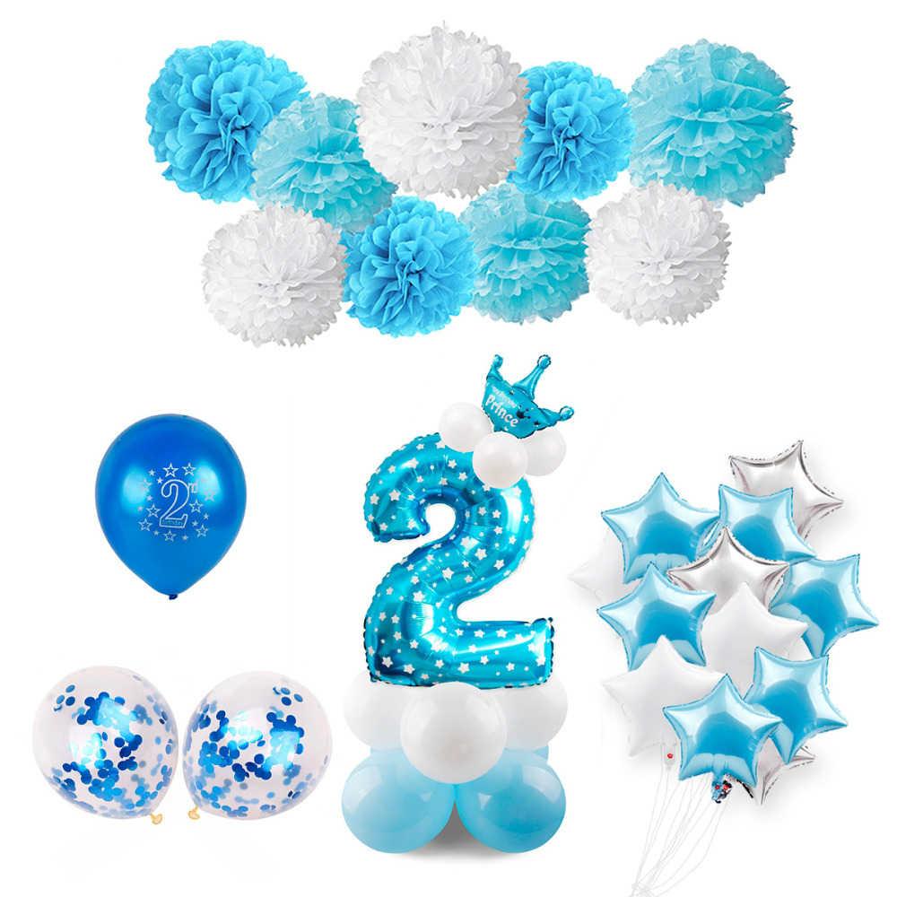 HUIRAN 2 ° cumpleaños número de globos globo 2 años de edad niños Azul 2 ° cumpleaños decoración rosa niña cumpleaños suministros para fiestas