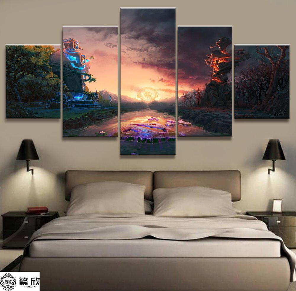 buy 5 panel dota 2 game canvas printed. Black Bedroom Furniture Sets. Home Design Ideas