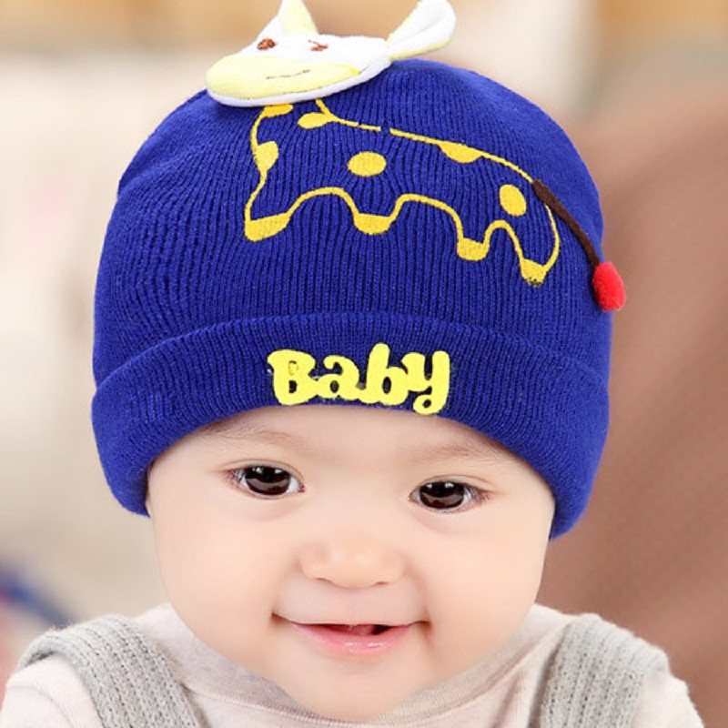 children newborn hats baby boy girls caps lovely cartoon giraffe