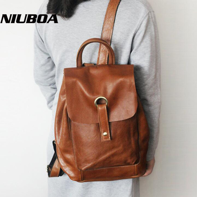 Hot Sale Female Backpack Women Bags Vintage Genuine Leather Cowhide Backbag Korean Casual Girls School Shoulder