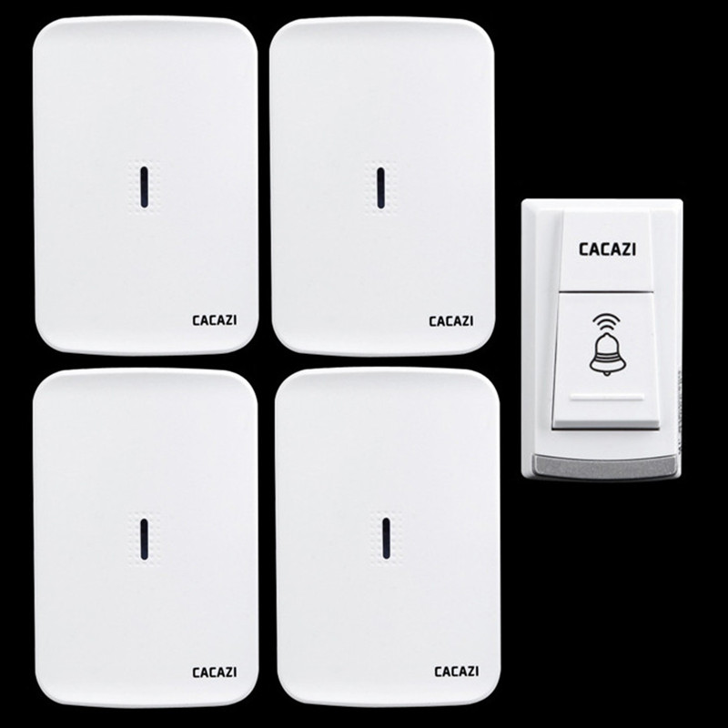 CACAZI Wireless electronic doorbell elderly pager DC use battery wireless door bell waterproof 1transmitter+4 receivers wireless service call bell system popular in restaurant ce passed 433 92mhz full equipment watch pager 1 watch 7 call button