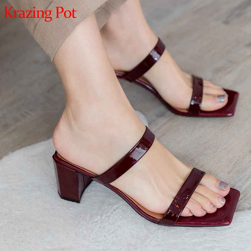 Krazing pot new Summer new arrival brand shoes thick high heels women sandals square peep toe