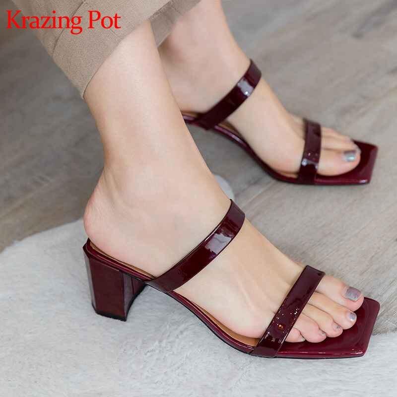 Krazing pot nuevo verano Zapatos de marca de nueva llegada zapatos de tacón alto grueso mujeres sandalias cuadrado peep toe Roma estilo vacaciones playa zapatos L82-in Sandalias de mujer from zapatos    1
