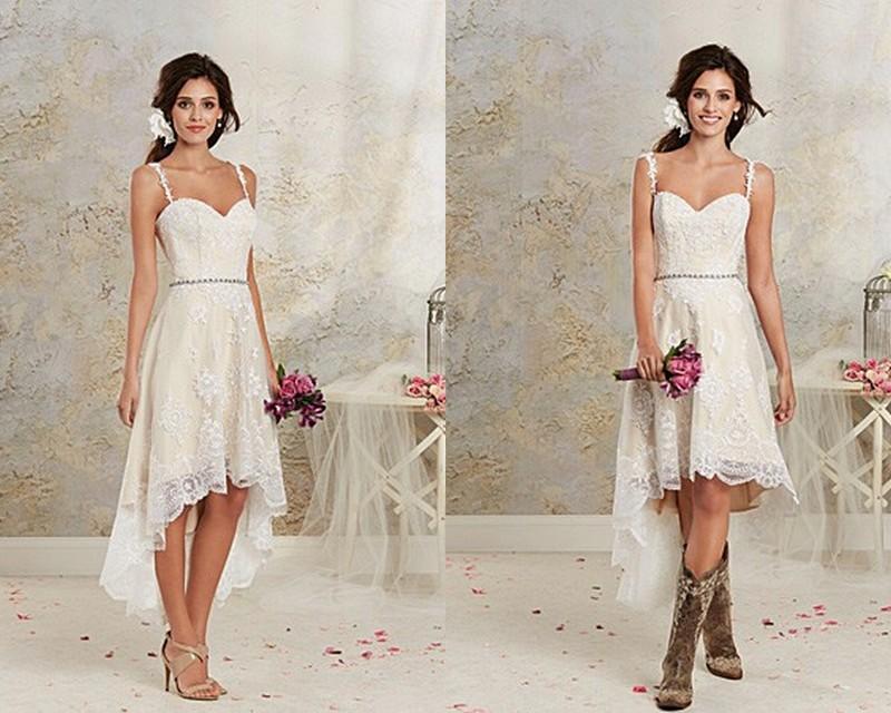 Hi Lo Lace Beach Wedding Dresses Gown Spaghetti 2015 Summber Short