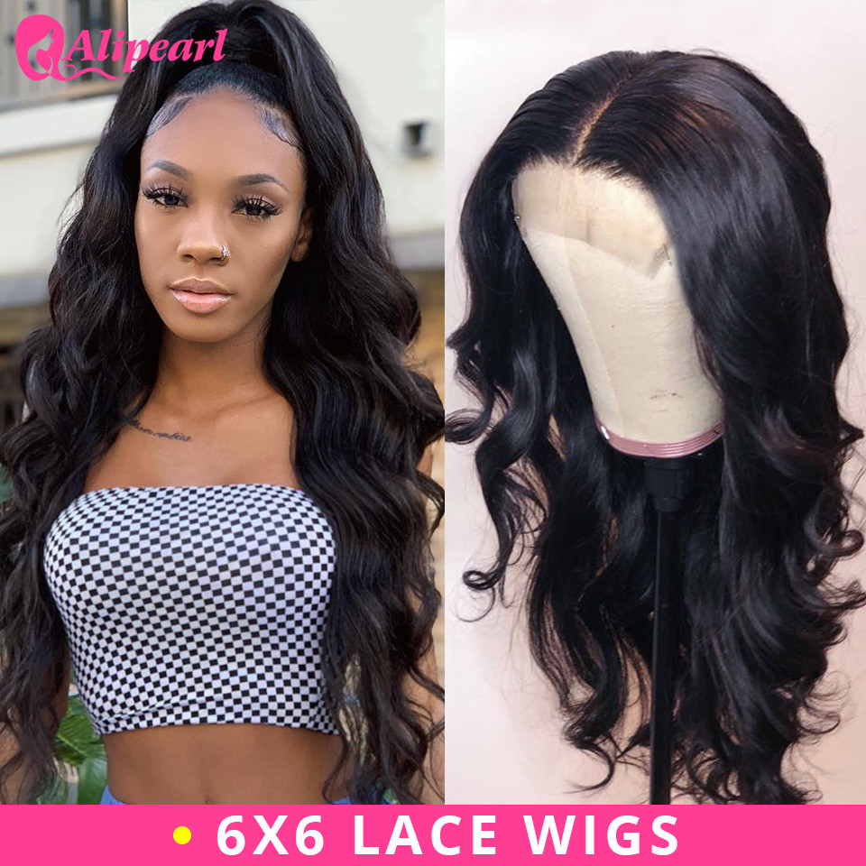 AliPearl Body Wave 6x6 Lace Closure Wig Human Hair Wigs PrePlucked Brazilian Lace Wig 130 150 180 250 Density Remy Natural Color