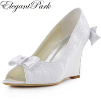 Women Dress Shoes WP1414 Evening Party Peep Toe Lace Bows Rhinestones 3 5 Wedges Heel Comfortable