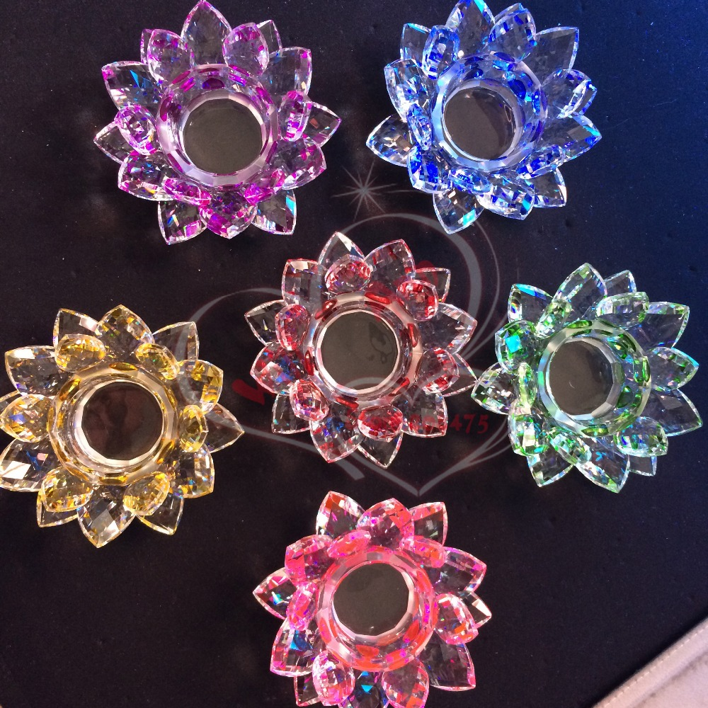 Wholesale Colorful Votive Crystal Lotus Tealight Candle Holders Wedding Home Art Decor Gifts China