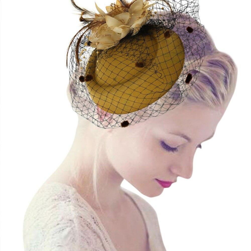 Women's Hair Accessories 2019 Brand New Big Bowler Pillbox Wedding Hat Headpiece Fancy Costume Party Women Hair Accessories Flower Fascinator Hair Clip