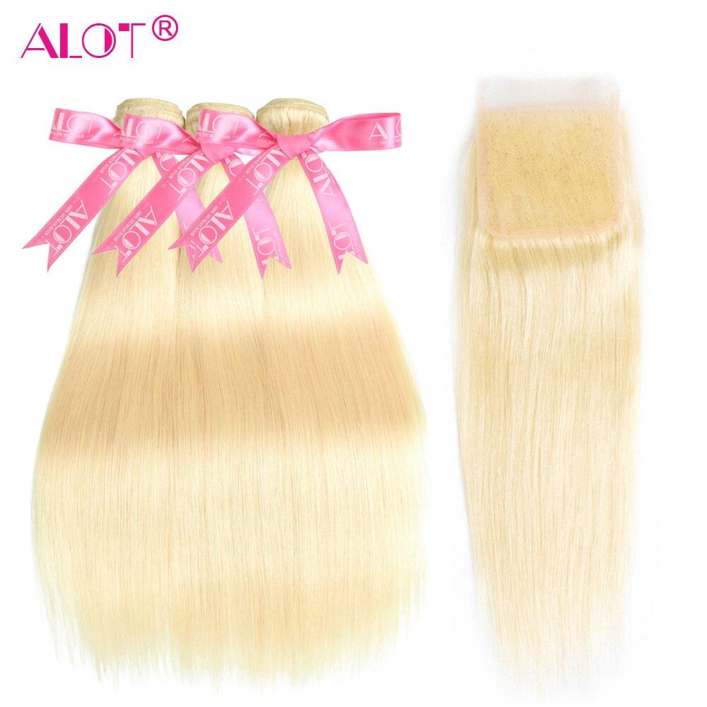 613 блонд 3 пучка с закрытием бразильские Прямые двойные уток 613 натуральные кудрявые пучки волос с HD кружевом Remy 4 шт