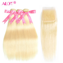 613 Blonde 3 Bundles With Closure Brazilian Straight Double Weft 613 Human Hair Weave Bundles With HD Lace Closure Remy 4 Pcs