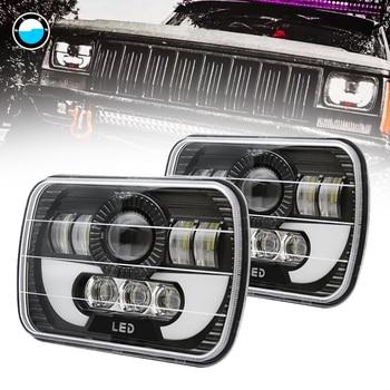 5x7 Inch Car Auto DRL Led headlamp 5x7'' 6x7'' Rectangular LED Headlights for Jeep Wrangler YJ Cherokee XJ Trucks 4x4 Offroad.