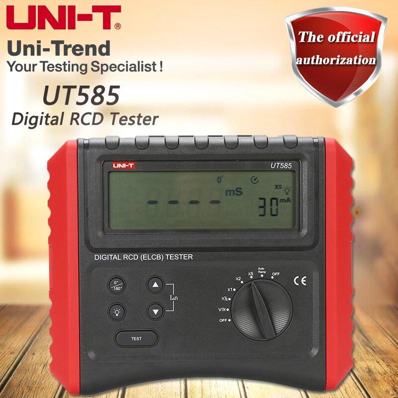 Testeur de commutateur de Protection contre les fuites UT585 de UNI-T, testeur numérique RCD, fonction de Test de verrouillage de la connexion de maintien numérique rétro-éclairage LCD