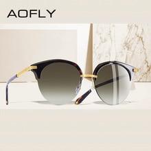AOFLY BRAND DESIGN Fashion Cat Eye Sunglasses Women Vintage Half Frame