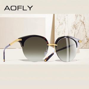 Image 1 - AOFLY 브랜드 디자인 패션 고양이 눈 선글라스 여성 빈티지 절반 프레임 선글라스 여성 Semi Rimless UV400 Gafas De Sol A143