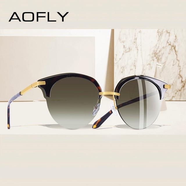 AOFLY 브랜드 디자인 패션 고양이 눈 선글라스 여성 빈티지 절반 프레임 선글라스 여성 Semi Rimless UV400 Gafas De Sol A143