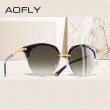 AOFLY מותג עיצוב אופנה עין חתול משקפי שמש נשים בציר חצי מסגרת משקפי שמש נקבה חצי ללא שפה UV400 Gafas דה סול a143