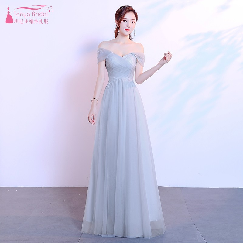 A Line Silvery   Bridesmaid     Dresses   2019 New Long   Dress   For Wedding Party For Woman Guest Gowns JQ33