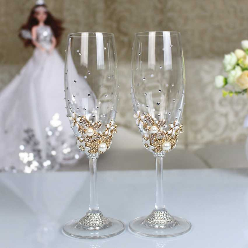 1 Set Personalized Wedding Set Champagne Glasses Diamond